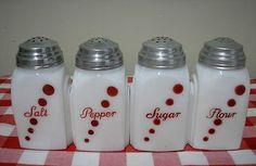 MCKEE MILK GLASS w RED DOTS RANGE SET* SALT* PEPPER* SUGAR* FLOUR SHAKERS* ROMAN ARCH