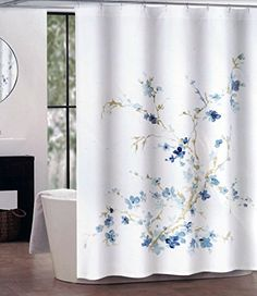 Incroyable Tahari Fabric Shower Curtain Dark And Light Blue Floral Pattern With Beige  Branches Printemps Tahari Home