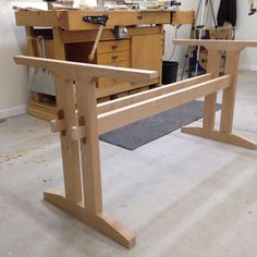 """Happy now , first time making these through tenons. They're wedged with a piece of Sapele. I've heard this referred to as a """"tusk tenon"""" , is that correct? #woodworksbyjohn #trestletable #woodworkerssource #wedgedtenon"""