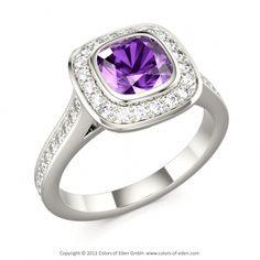 Cushion cut Square Amethyst, Round Diamonds in 18k White Gold - Maharajah Ring