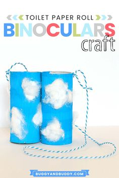 Make homemade binoculars using tp rollsa and cotton. This fun craft is great to take outdoors or outside to go cloud watching. Add this activity for kids to your weather unit! #buggyandbuddy #weather #clouds #craftsforkids #kidscrafts #tprollcraft #cloudcraft #ece #preschool #preschoolcraft Fun Crafts To Do, Arts And Crafts Projects, Projects For Kids, Weather Activities For Kids, Creative Activities For Kids, Weather Crafts, Binocular Craft, Preschool Crafts, Abc Crafts