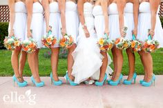 orange aqua and white love these wedding colors but my girls will definitely not be wearing white!!