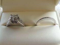 #jewelry 14K White Gold Diamond Princess Cut Engagement Ring & Wedding Band set Size 7 please retweet