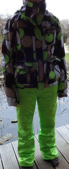 Chiemsee Damen-Skianzug, Größe 36/38 - apfelgrüne Hose, gemusterte Jacke Motorcycle Jacket, Jackets, Fashion, Snowboarding Jackets, Sport Clothing, Trousers, Down Jackets, Moda, La Mode