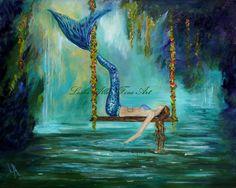 "Mermaid Painting Acrylic Mermaids Fantasy Lagoon Peaceful Serene Calming  Original Painting ""Mermaids Lazy Lagoon"" Leslie Allen Fine Art"