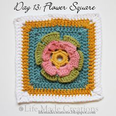 Day 13: Flower Square block free crochet pattern on Life Made Creations at http://lifemadecreations.blogspot.com/2011/05/square-day-12-thirteen-4-teen-15.html