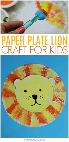 ROAR! Isn't this paper plate lion craft for kids the absolute cutest?! Perfect for toddlers, preschool or older we use pom poms to make a fun printing technique that kids will love plus these's a simple video tutorial to show you how! #kidscrafts #kidsactivities #preschool #lion