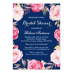 Rose Floral Wreath Navy Blue Bridal Shower