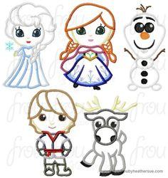 Freezing Cutie Little Princesses FIVE Design SET Machine Applique Embroidery Design, Multiple Sizes, NOW INCLUDING 4 INCH