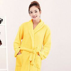 Bath Robe,High-class Yellow Solid Colour Garment Thicken – USD $ 19.99