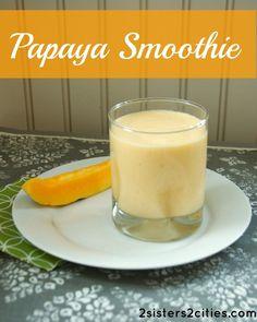 Hawaiian Papaya Smoothie:       1 papaya (peeled, seeded, and roughly chopped)      1 lime (juiced)      1 cup low-fat, plain Greek yogurt      1 tablespoon honey      ½ cup skim milk      ½ banana      ¼ cup orange, pineapple, or guava jioce      handful of ice