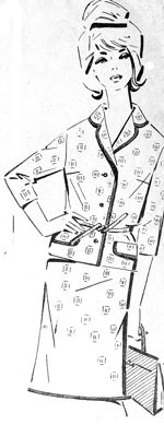 Платье-костюм из шерстяной пестроткани, мода 1965 год