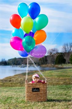 *Baby in basket with balloons so cute. Hot air ballon idea. Photo photography props