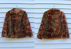 Vintage VTG VG 1960's 60's 1970's 70's Carpet Jacket Printed Zip Up Retro Bohemian Earth Tones Fall Winter Women's Small Medium by foxandfawns on Etsy