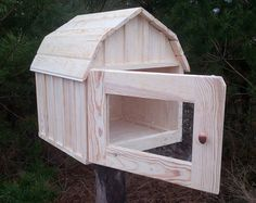 Unique unfinished little free library  Wooden by PinocchioUK