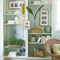 Built-In Bookcase Makeover - Southern Decor for Spring - Southern Living Bookcase Makeover, Bookcase Styling, Bookshelves Built In, Built Ins, Bookshelf Ideas, Shelving Ideas, Painted Bookcases, Bookcase White, Large Bookcase