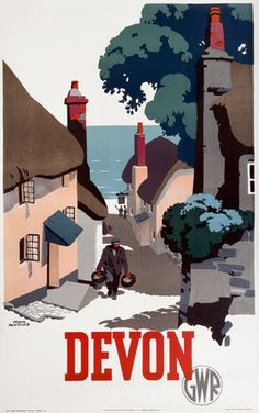 This Poster was produced in 1939 by Great Western Railway GWR to help promote rail travel to Devon Artist Frank Newbould has painted quaint seaside Posters Uk, Train Posters, Retro Poster, Railway Posters, Vintage Travel Posters, Vintage Ski, Illustrations Vintage, Illustrations And Posters, National Railway Museum