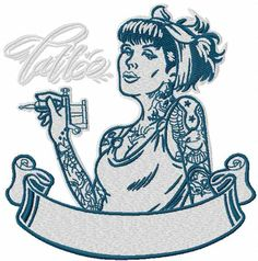 Tattoo girl embroidery design. Machine embroidery design. www.embroideres.com