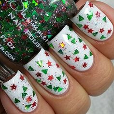 Christmas Nail  #beauty #hologram #glitter #decor #nails #sparkles #fashion #women #trend #winter #christmas #rainbow #white #decor