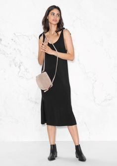& Other Stories image 1 of Tie Shoulder Dress in Black