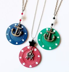 Poker Chip Pendant.  RokRokInc. upcycled handmade jewellery and eco design, handcrafted recycling DIY necklace.