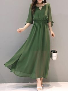 Round Neck Elastic Waist Slit Plain Maxi Dress - Everything you are looking for Stylish Dresses, Simple Dresses, Cute Dresses, Casual Dresses, Fashion Dresses, Dresses With Sleeves, Ladies Dresses, Women's Dresses, Formal Outfits