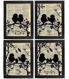 Your Family Tree, Love Bird Family, Antique Dictionary Page, Book Page, Nerdy Poster, art print, Wall Decor, Wall Art Mixed Media Collage Could make 5 x 7 art. the first and second pics are cool...and then just have four with all four added one at a time.