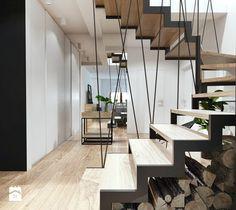 Projekt 18 - Średnie wąskie schody wachlarzowe drewniane metalowe, styl skandynawski - zdjęcie od PASS architekci