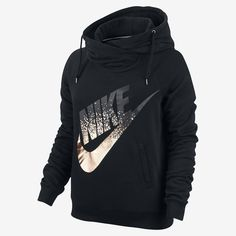 Nike Rally Metallic Funnel Neck Pullover Women's Hoodie. Nike.com
