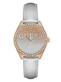 Silver and Rose Gold-Tone Iconic Sparkle Watch | shop.GUESS.com