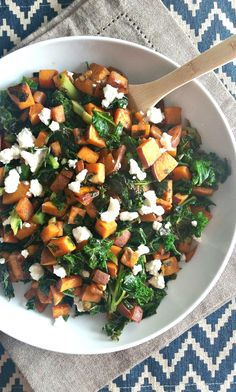 Sweet Potato Chopped Kale Salad with Honey Goat Cheese. Simple, delicious and nutritious!