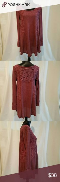 """Anthropologie Eloise Thermal and Lace Tunic Dress This is a great, like new, Anthropologie, E by Eloise, thermal long sleeve top with lace panels. Features: - thermal, waffle weave, top that looks great with jeans and leggings - loose fit - rounded neckline - lace on back is unlined in the center for a pretty peek of skin - stripe lining inside cuffs Approximate Measurements  (measured laying flat): Chest  (armpit to armpit): 18"""" Sleeve  (armpit to cuff edge): 19"""" Length  (shoulder to front…"""