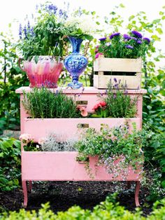 An old dresser becomes a unique planter for a cottage chic garden. To extend its…