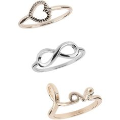 Miss Selfridge Infinity Valentines Rings (28 BRL) ❤ liked on Polyvore featuring jewelry, rings, accessories, anillos, jewels, silver, infinity ring, open heart ring, infinity jewelry and open heart jewelry