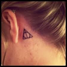 Image Result For Small Tattoo Behind Ear Harry Potter Ear Harry Image Pott Ear Harr With Images Harry Potter Triangle Harry Potter Triangle Symbol Small Tattoos