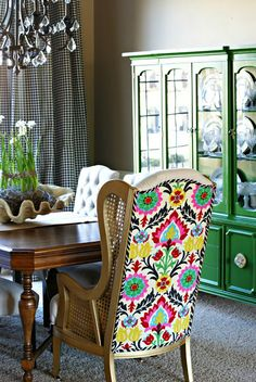 I LOVE this green china cabinet makeover, and it looks really nice with the chair and curtains.  -from Dimples and Tangles: GREEN CHINA CABINET