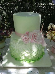 Gorgeous Shabby Chic Birthday Party cake! See more party planning ideas at CatchMyParty.com!