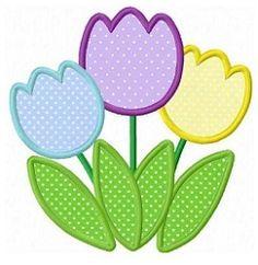 3 Tulipanes Applique - 3 Tamaños! | Floral - Flores | Diseños máquina de bordar | SWAKembroidery.com