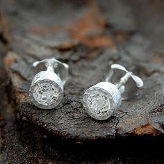 Fine White Topaz Round Silver Stud Earrings