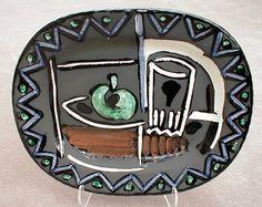 Still Life, 1953 ceramic rectangular dish, white earthenware clay, decoration in engobes, knife engraved under glaze.
