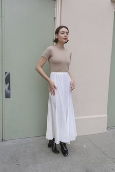 """NONNA Vintage Norma Kamali White Skirt - Vintage bias cut Norma Kamali 80's skirt - Back zip closure - In good vintage condition - Marked as size 6 - Measurements: Waist 12"""", Length 35.75,"""" and Hips 1"""