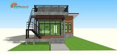 แบบบ้านโมเดิร์นลอฟท์ มาพร้อมกับดาดฟ้าชมวิว พื้นที่ใช้สร้อย 75 ตรม   ดูไอเดียบ้าน Small Cottage House Plans, Small House Plans, Cottage Homes, Rooftop Design, Modern Bungalow House, Small Cottages, Outdoor Structures, Mansions, House Styles