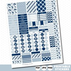 Navy blue and fog blue weekly planner stickers with headers, full boxes, half…