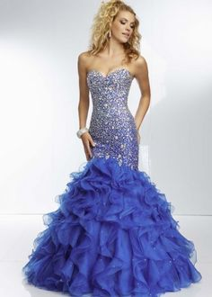 Royal Strapless Sparkly Beaded Ruffled Mermaid Long Prom Dress [Royal Mermaid Long Prom Dress] - $239.00