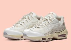Nike Adds Red Bronze Heel Panels To This Womens Air Max 95 Air Max 95 White, Air Max Sneakers, Sneakers Nike, Air Max Women, Asics, Nike Air Max, Bronze, Red, Leather