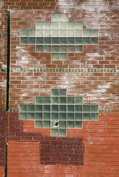 Art Deco Glass Bricks + brick wall, Gowanus, Brooklyn (via Jackie Weisberg)
