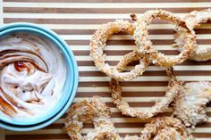 Barbecue Baked Onion Rings via @Refinery29 - yes please.