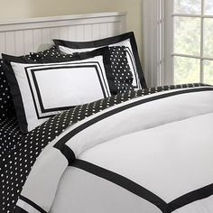 Suite Organic Duvet Cover + Sham, Black #potterybarnteen  Black & White for when we go from Nursery to Big Girl Room without having to change the color scheme!