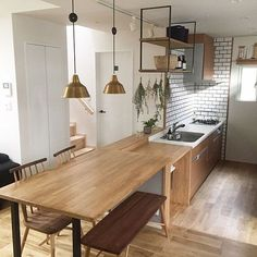 Excellent home decor advice information are available on our website. Living Room Nook, Open Plan Kitchen Living Room, Kitchen Dining, Japanese Style House, Japanese Home Decor, Cafe Interior, Kitchen Interior, Small Open Plan Kitchens, Diy Kitchen Storage