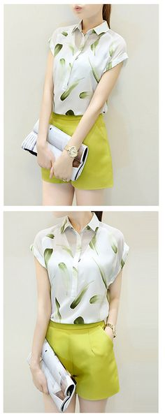 Top summer color - Olive! Wear this adorable two piece summer shorts suit for women (short sleeve feather print blouse + olive shorts). Just $14.99 Printed Blouse, Printed Shirts, Olive Shorts, Short Suit, Just Girly Things, Street Chic, Suits For Women, Feather Print, Short Dresses